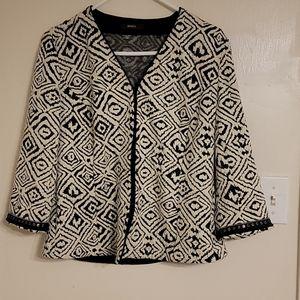 Bonita Black and White Patterned Jacket - 44